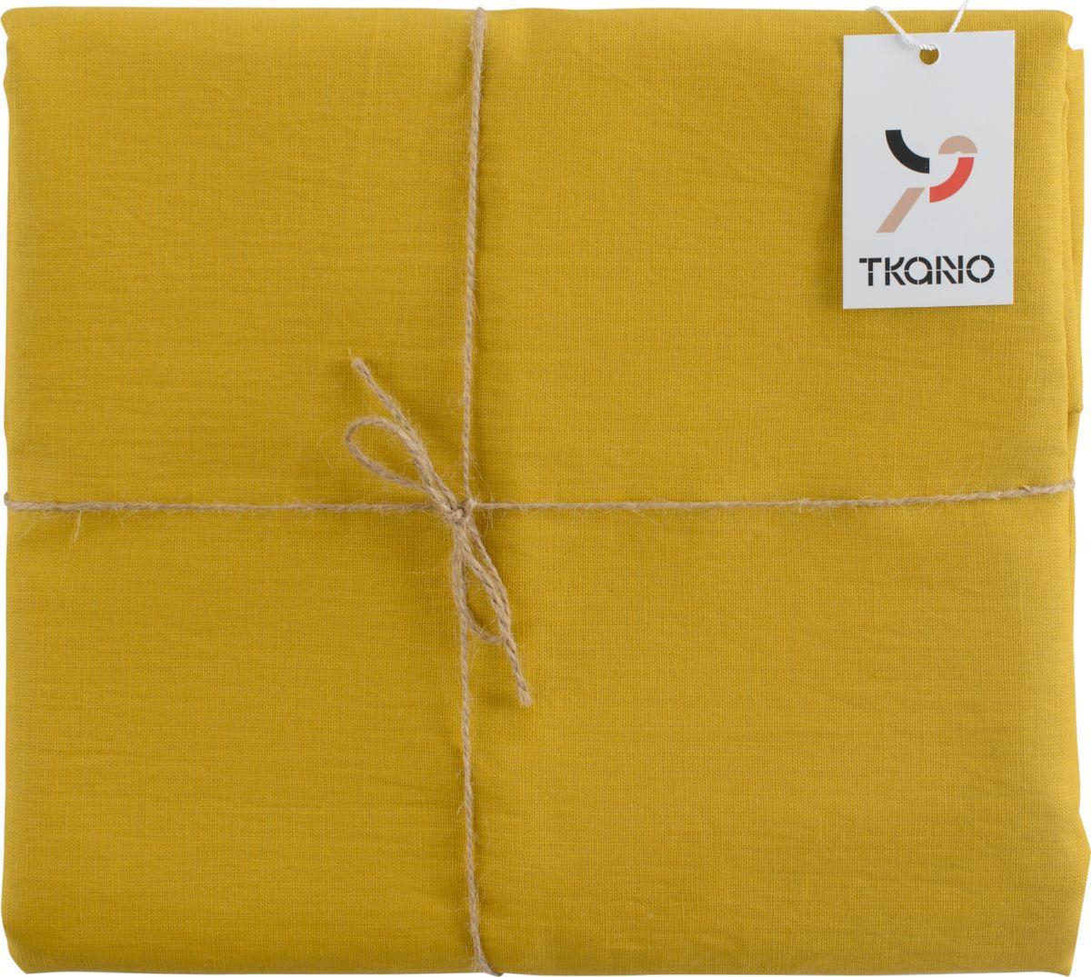 Скатерть Tkano Essential, TK18-TС0014, с декоративной обработкой, горчичный, 143 x 143 см