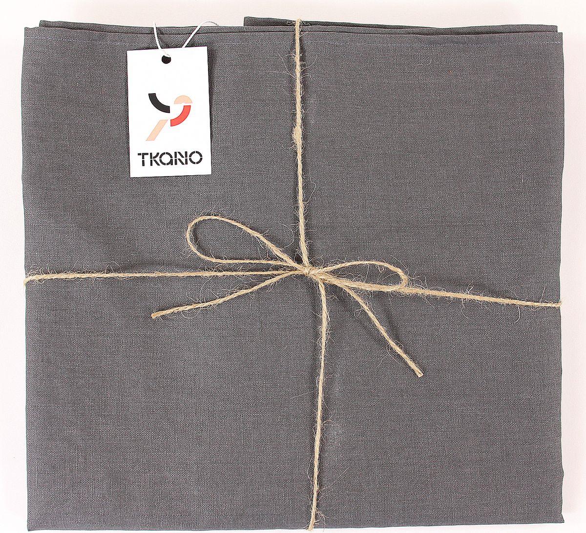 Скатерть Tkano Essential, TK18-TС0016, с декоративной обработкой, темно-серый, 143 x 143 см