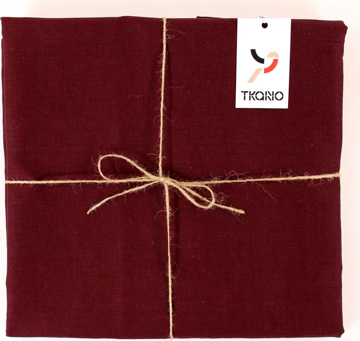 Скатерть Tkano Essential, TK18-TС0017, с декоративной обработкой, бордовый, 143 x 250 см