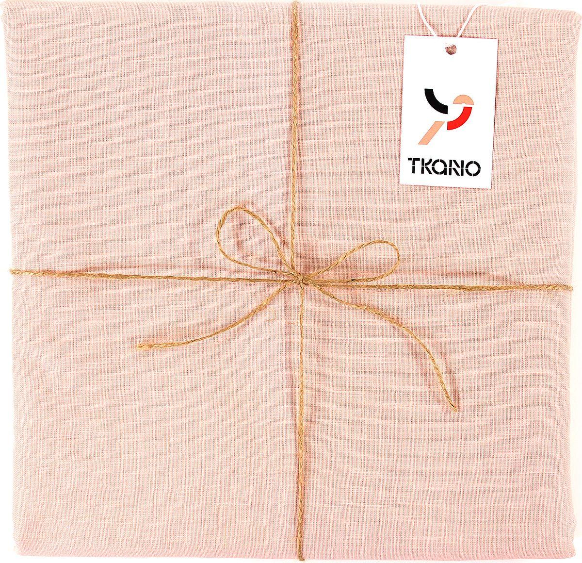 Скатерть Tkano Essential, TK18-TС0019, с декоративной обработкой, пыльная роза, 143 x 250 см