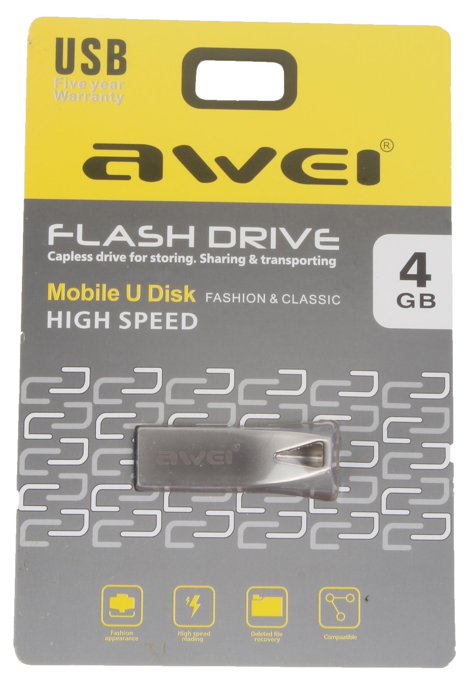 USB Флеш-накопитель Awei USB 4 Gb, AWUS4, серебристый