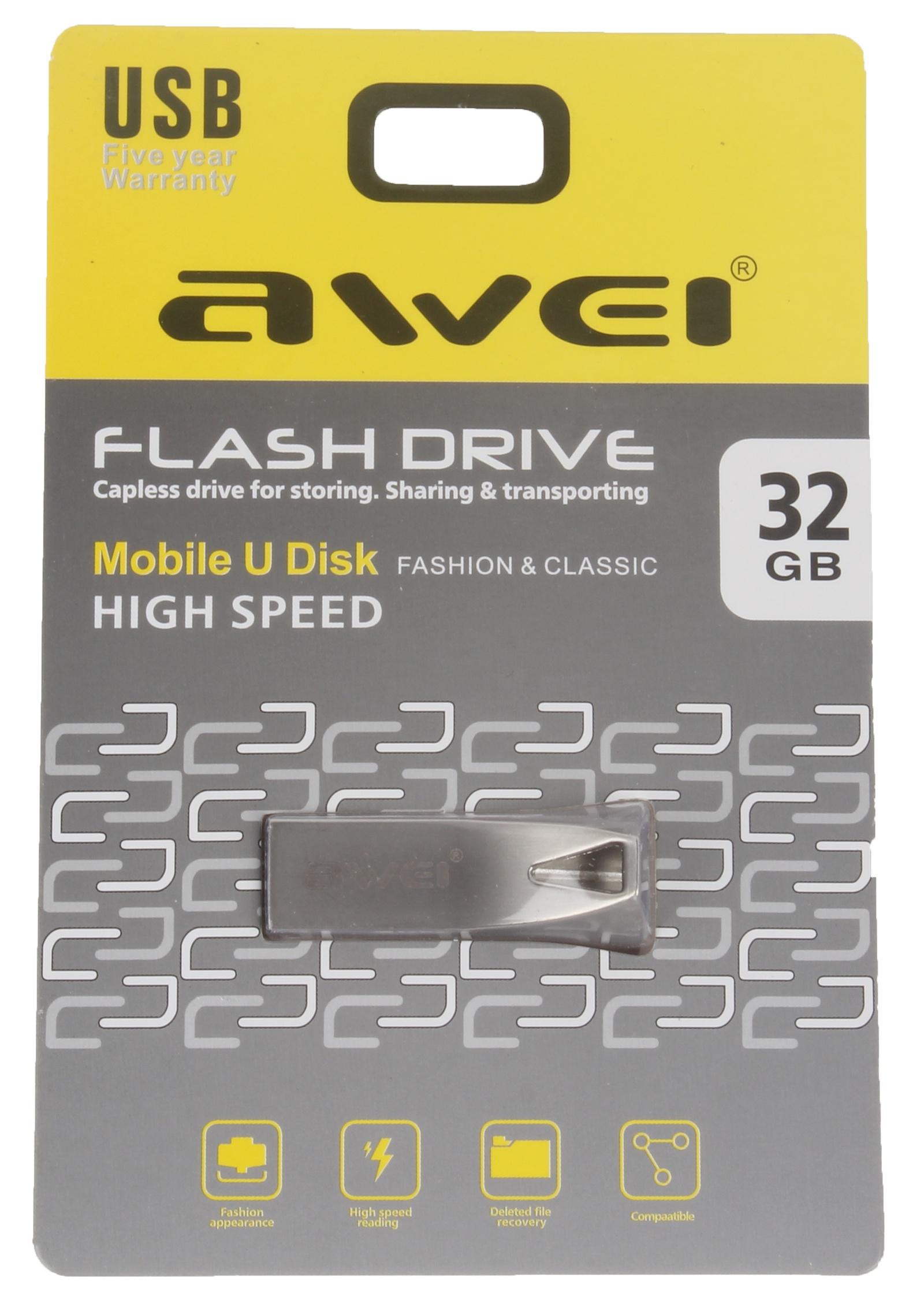 USB Флеш-накопитель Awei USB 32 Gb, AWUS32, серебристый