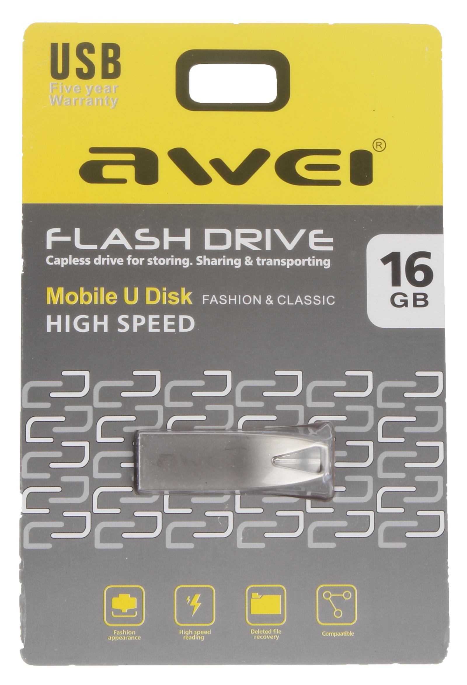 USB Флеш-накопитель Awei USB 16 Gb, AWUS16, серебристый