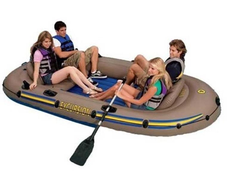 Надувная лодка Intex Ручной насос 68614. Алюминиевые весла. Ремонтный комплект. 2 надувных сидения, коричневый