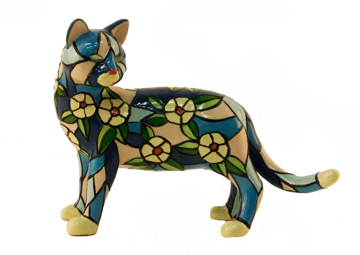 """Статуэтка Антик Хобби """"Кошка в цветах""""., ОС33512, голубой, синий, светло-розовый, зеленый"""