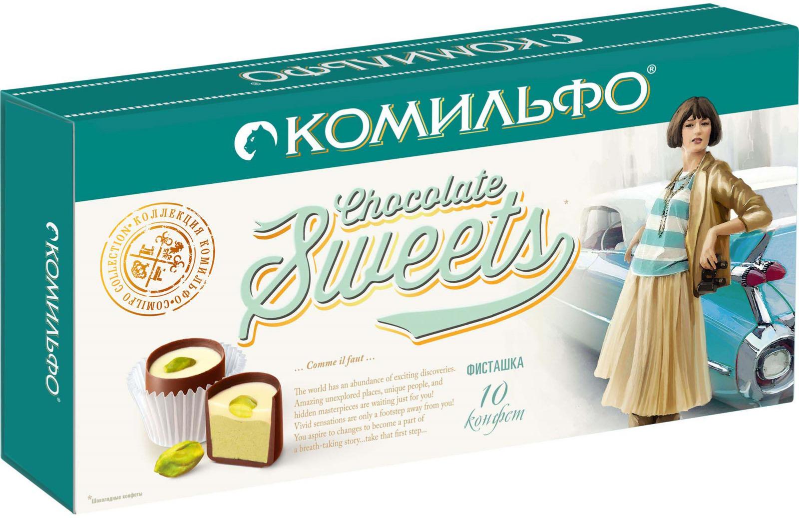 Комильфо шоколадные конфеты фисташка, 116 г