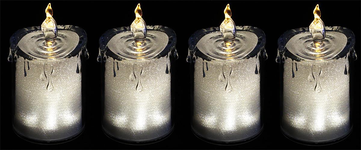 """Комплект декоративных свечей Lefard """"Горный хрусталь"""", 234-129, серебристый, 7,5 х 7,5 х 14 см, 4 шт"""