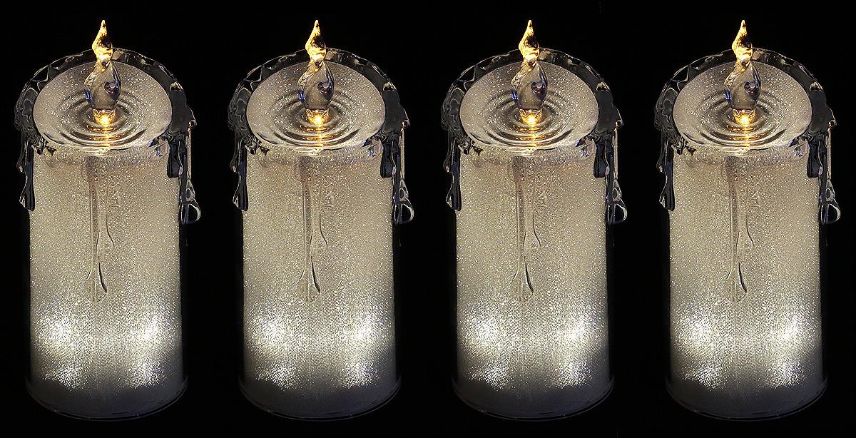 """Комплект декоративных свечей Lefard """"Горный хрусталь"""", 234-130, серебристый, 7,5 х 7,5 х 18 см, 4 шт"""
