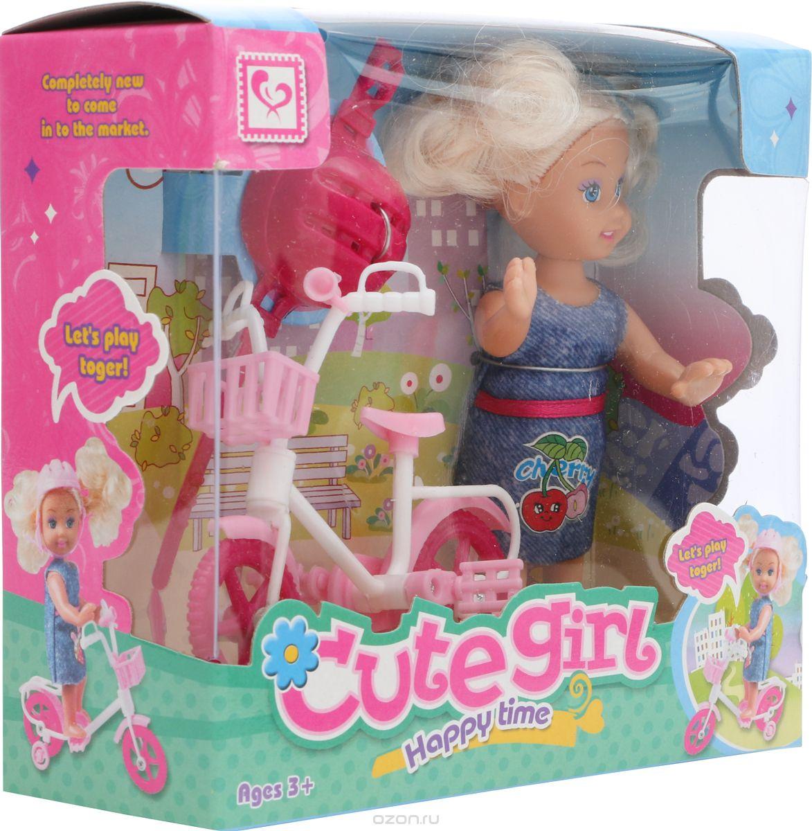 Мини-кукла No Name K073403 с велосипедом и аксессуарами розовый, синий мини кукла no name k080189 с мотоциклом и аксессуарами 1006440 розовый