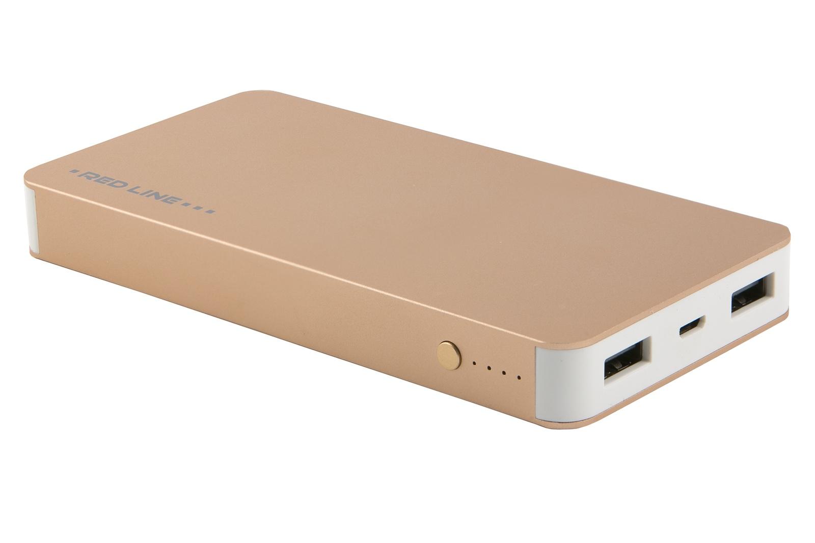 Внешний аккумулятор Red Line Tech T2, УТ000015978, золотой аккумулятор red line t2 8000mah pink