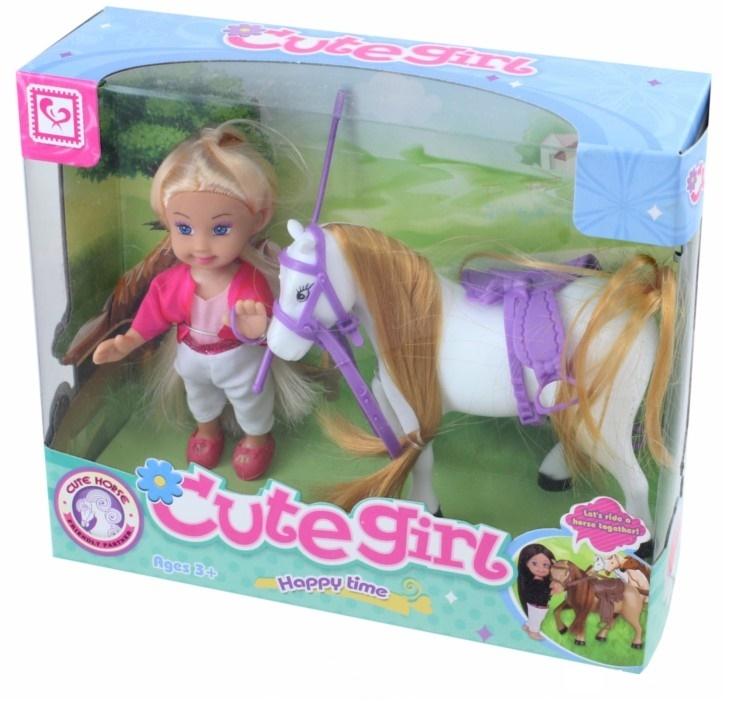 Мини-кукла No Name K080177 с лошадкой, 1006450 белый, розовый мини кукла no name k080189 с мотоциклом и аксессуарами 1006440 розовый