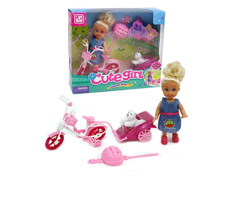 Мини-кукла No Name K080179 с велосипедом собачкой аксессуарами, 1124648 розовый, синий мини кукла no name k080189 с мотоциклом и аксессуарами 1006440 розовый
