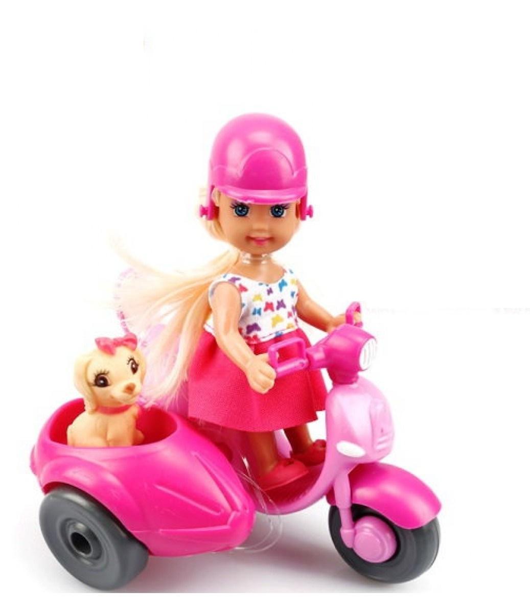 Мини-кукла No Name K080181 с мотоциклом собачкой аксессуарами, 1124649 розовый