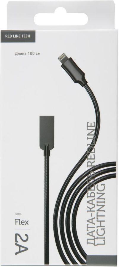 Кабель red line Flex USB - Lightning, УТ000015519, черный цена