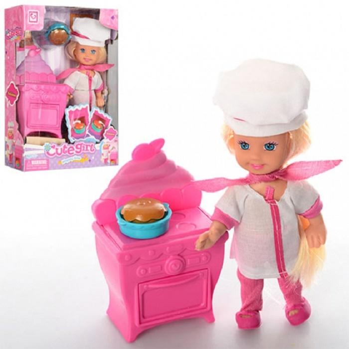 Мини-кукла No Name K080184 Повар с аксессуарами, 1124651 белый, розовый мини кукла no name k080189 с мотоциклом и аксессуарами 1006440 розовый