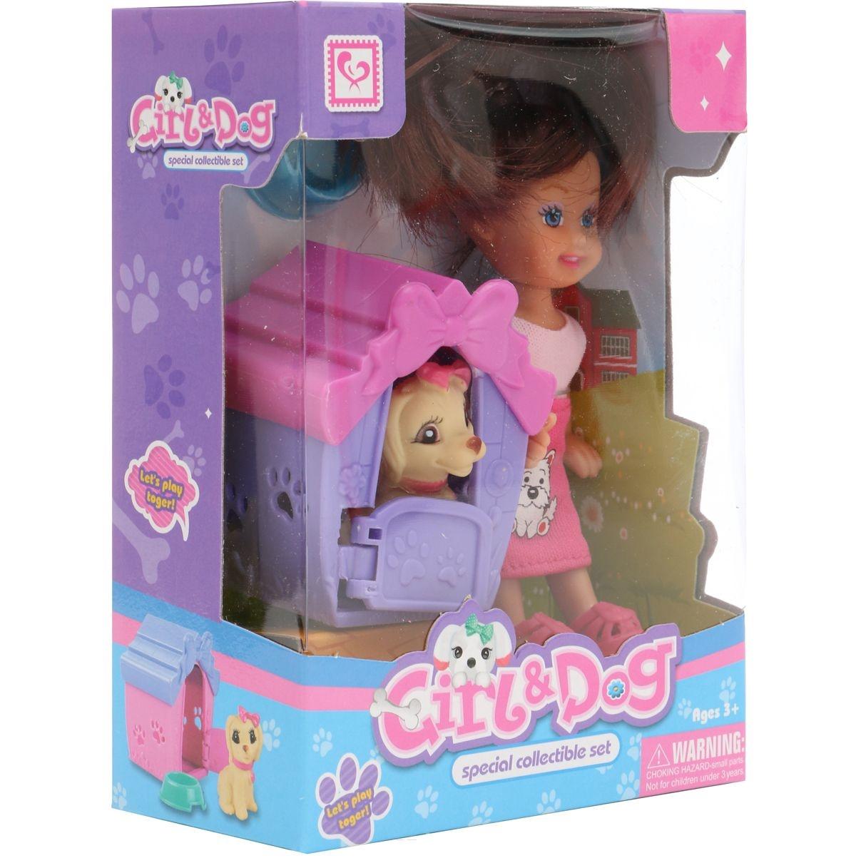 Мини-кукла No Name K080186 с собачкой и аксессуарами, 1006436 розовый мини кукла no name k080189 с мотоциклом и аксессуарами 1006440 розовый