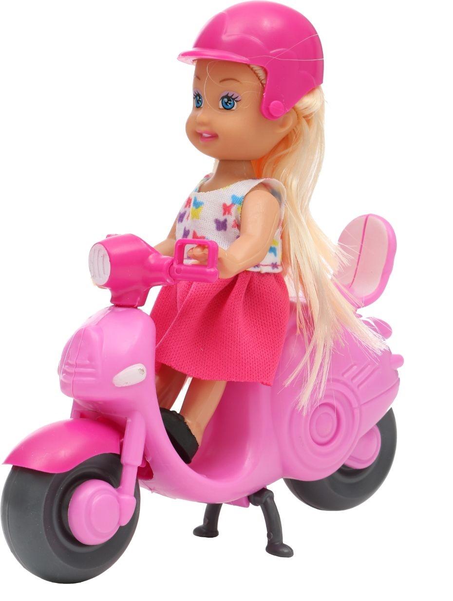 Мини-кукла No Name K080189 с мотоциклом и аксессуарами, 1006440 розовый