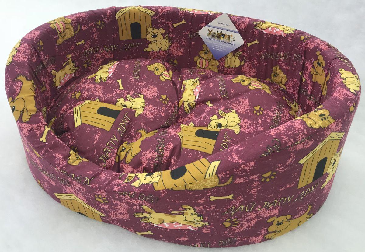 Лежак для животных Бобровый дворик Эксклюзив №1, 82872, бордовый, 42 х 35 х 16 см лежак для животных бобровый дворик купон 1 82885 42 х 35 х 16 см