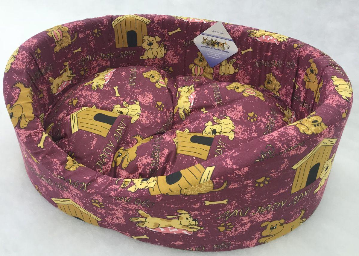 """Лежак для животных Бобровый дворик """"Эксклюзив №3"""", 82876, бордовый, 55 х 43 х 16 см"""