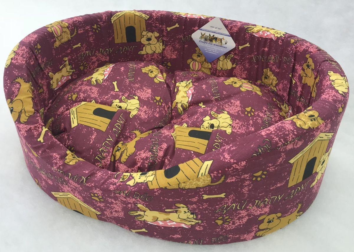 """Лежак для животных Бобровый дворик """"Эксклюзив №4"""", 82878, бордовый, 64 х 49 х 20 см"""