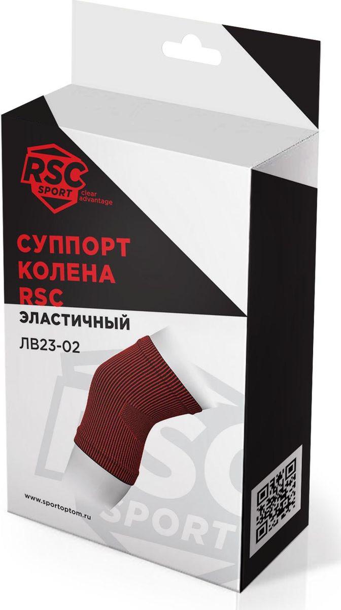 Суппорт колена эластичный RSC ЛВ23-02, 00027018, черно-красный, размер L RSC