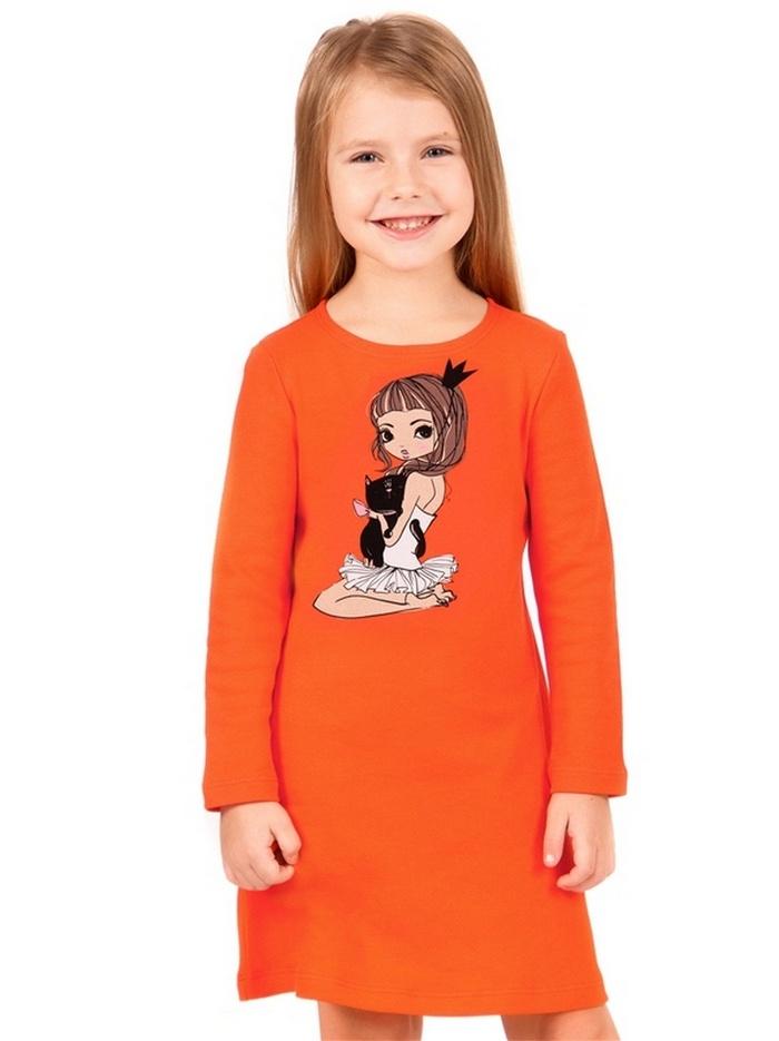 Платье Апрель 4640036144802, оранжевый, рост 128, размер 644640036144802Домашнее платье для девочки выполнено из плотного хлопкового полотна. Изделие с длинными рукавами, украшено дизайнерским принтом. Отличный вариант для сна и отдыха! Рекомендуется машинная стирка при температуре 40 градусов без предварительного замачивания.
