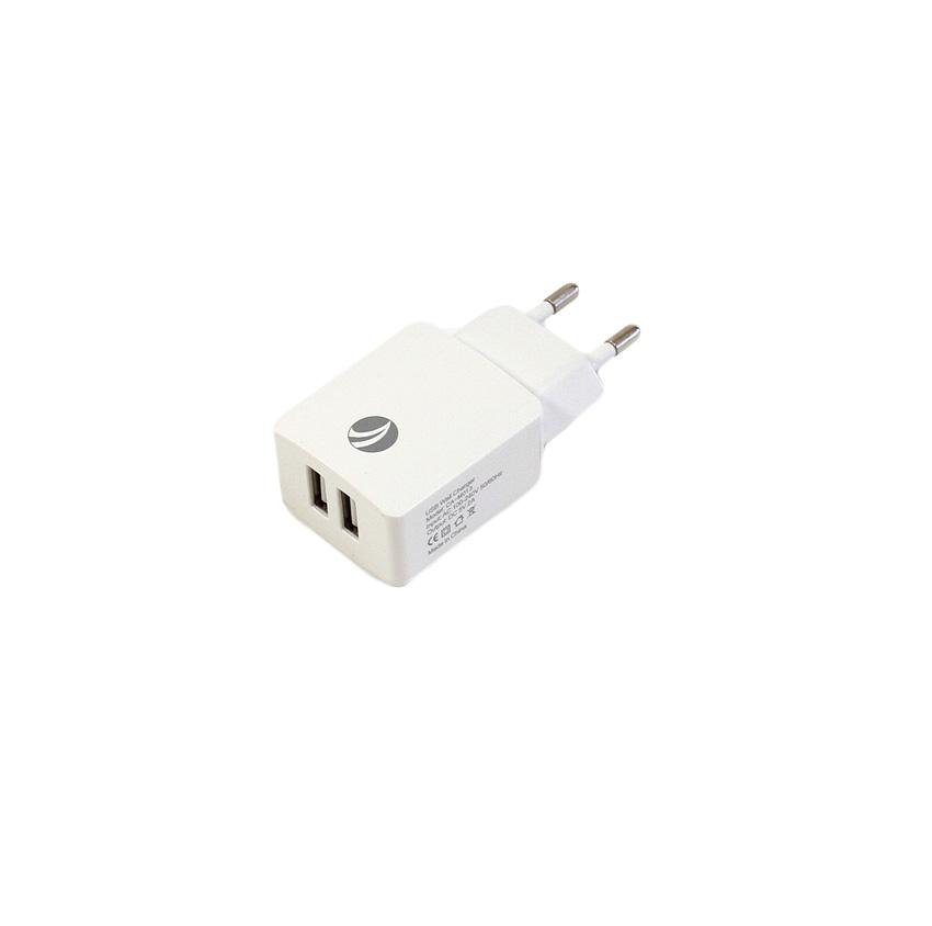 Зарядное устройство VCOM AC EU Plug 100-220V → USBx 2 Port DC5V 2A, CA-M013, белый lodestar l904493 23w anti static solder smoke absorber black ac 220v 3 flat pin plug