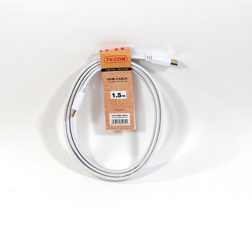 лучшая цена Кабель цифровой HDMI-HDMI 1.4V; 1,5m; TV-COM <CG200FW-1.5M> плоский, белый