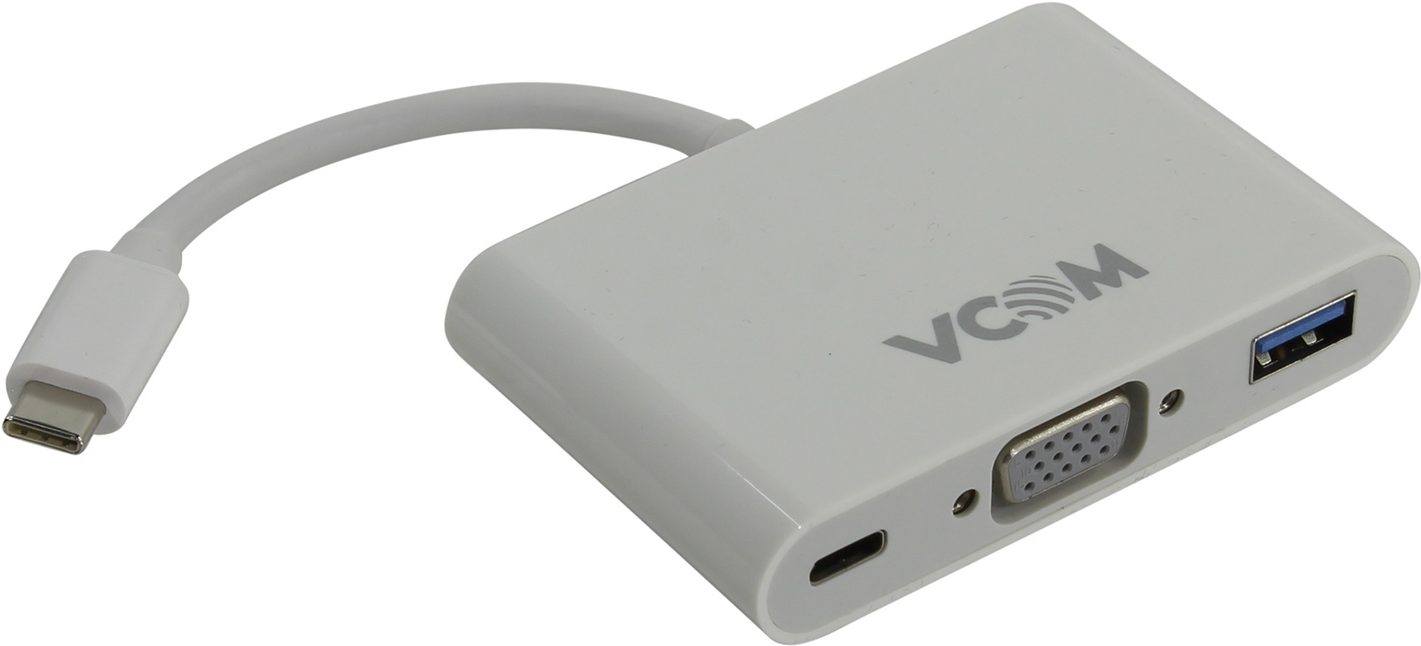 Кабель VCOM USB 3.1 Type-CM → VGA F USB3.0 F TypeC F, CU426, белый type c to vga usb 3 0 usb c 3 in 1 converter