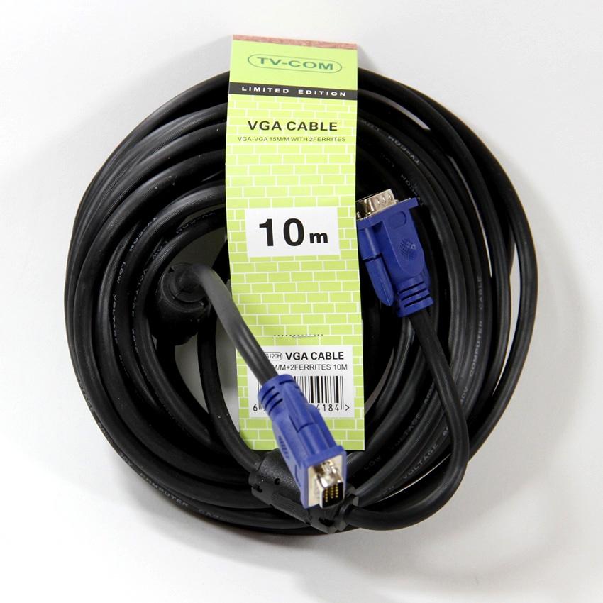 Кабель TVCOM SVGA 15M/15M, QCG120H-10M, черный кабель соединительный svga 15m m 10m 2 фильтра tv com qcg120h 10m qcg341ad 10m
