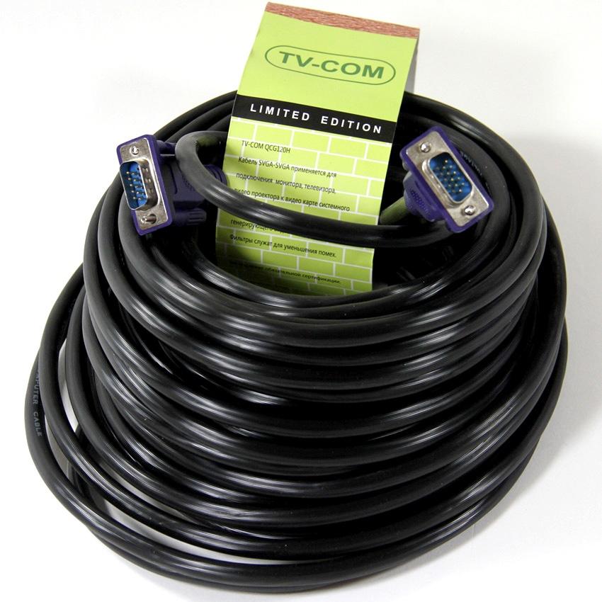 Кабель TVCOM SVGA 15M/15M, QCG120H-15M, черный кабель соединительный svga 15m m 10m 2 фильтра tv com qcg120h 10m qcg341ad 10m