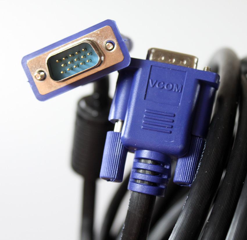 Кабель VCOM VGA 15M/15M, VVG6448-40MC, черный кабель монитор svga card 15m 15m 1 8м 2 фильтра vcom
