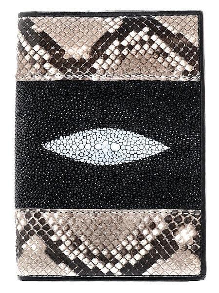 Обложка для паспорта ExoticLux из кожи питона и ската, коричневый цены онлайн