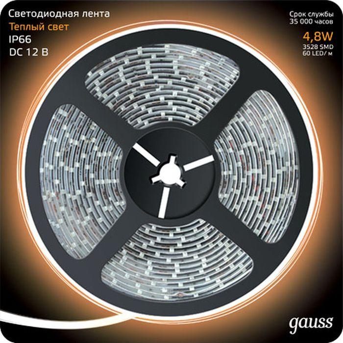 Светодиодная лента Gauss Black, 311000105, LED, 2835/60-SMD, 4.8W, 12V, DC, теплый белый, 5 м311000105Светодиодная лента Gauss идеально подходит для дизайнерской подсветки. Может использоваться в квартирах, домах, для развлекательных комплексов, ночных клубов, дискотек и ресторанов. Благодаря таким характеристикам как компактность и гибкость, светодиодная лента идеально подчеркивает контуры любого дизайн проекта интерьера, подходит для подсветки ниш крупных и малых размеров, правильных геометрических форм и абстрактных фигур. Светодиодная лента Gauss обладает рядом преимуществ, таких как: компактность, лёгкость монтажа, длительный срок службы, низкое энергопотребление.
