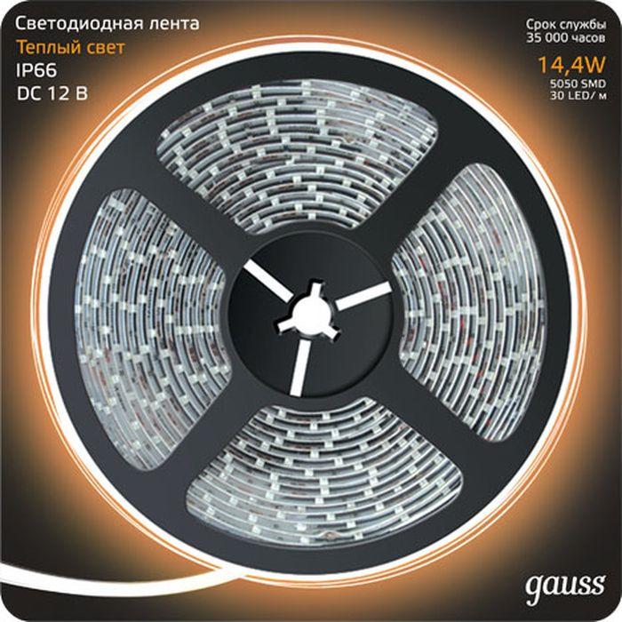 Светодиодная лента Gauss LED, 5050/60-SMD, 14.4W, 12V, DC, теплый белый, 5 м, 14,4 Вт светодиодная лента gauss elementary 5050 60 smd 14 4w 12v ip66 5м 6000k