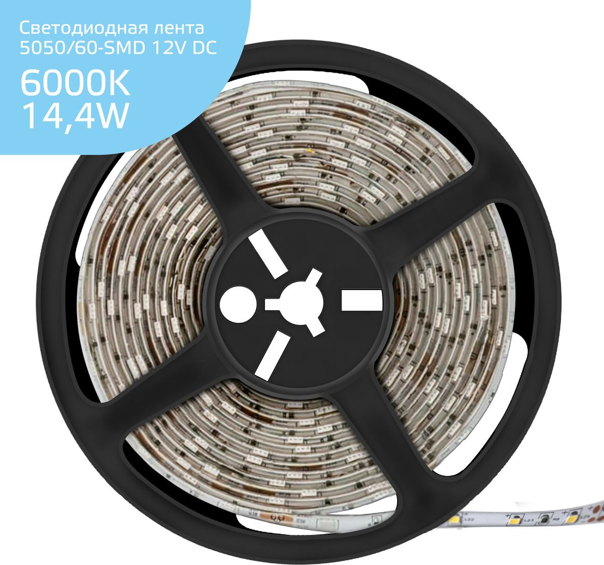 Светодиодная лента Gauss LED, 5050/60-SMD, 14.4W, 12V, DC, холодный белый, 5 м, 14,4 Вт светодиодная лента gauss elementary 5050 60 smd 14 4w 12v ip66 5м 6000k