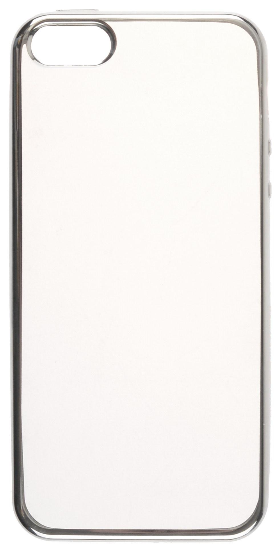 Чехол для сотового телефона skinBOX Silicone chrome border, 4660041407655, серебристый чехол для сотового телефона skinbox silicone chrome border 4660041407891 серебристый