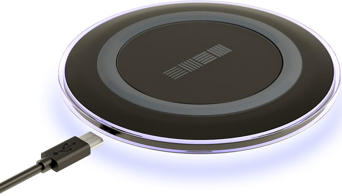 Беспроводное зарядное устройство Interstep QI 1,5А, IS-TC-QICHRNDBK-000B201, черный цена