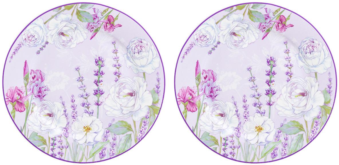 Набор десертных тарелок Elan Gallery Цветочная гармония, 420229, белый, фиолетовый, диаметр 19 см, 2 шт
