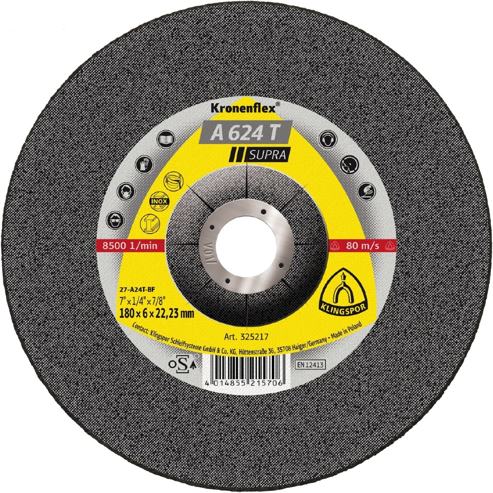 Круг обдирочный Klingspor 325216, Абразив круг отрезной klingspor 230х2х22 kronenflex a 24 extra