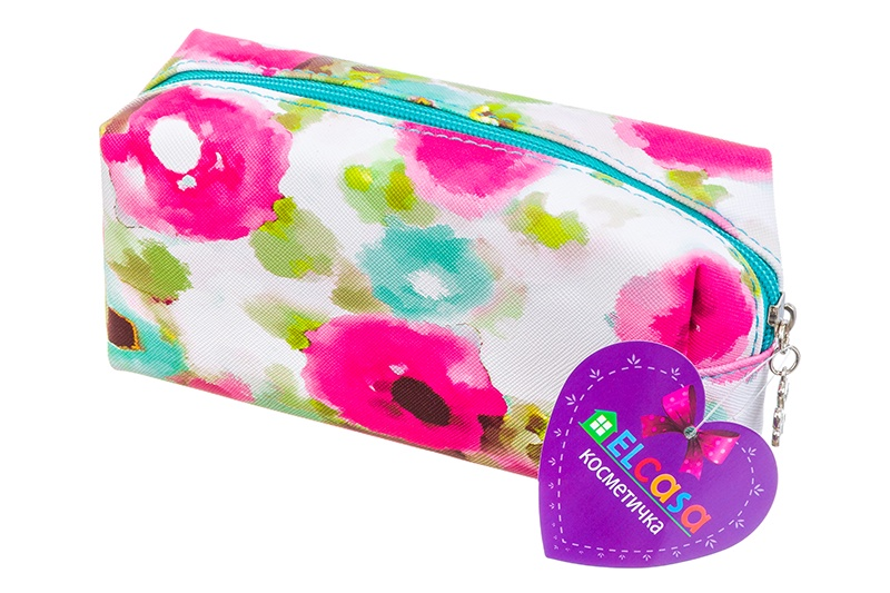 Косметичка EL Casa Акварельные маки, 790134, белый, розовый, бирюзовый el casa косметичка сумочка розовая