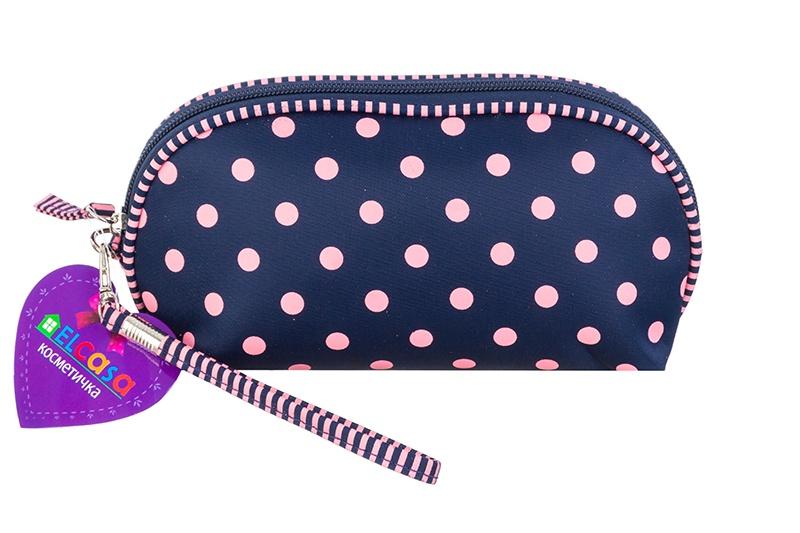 Косметичка EL Casa Синяя с розовым горошком, 790178, синий, розовый el casa косметичка сумочка розовая