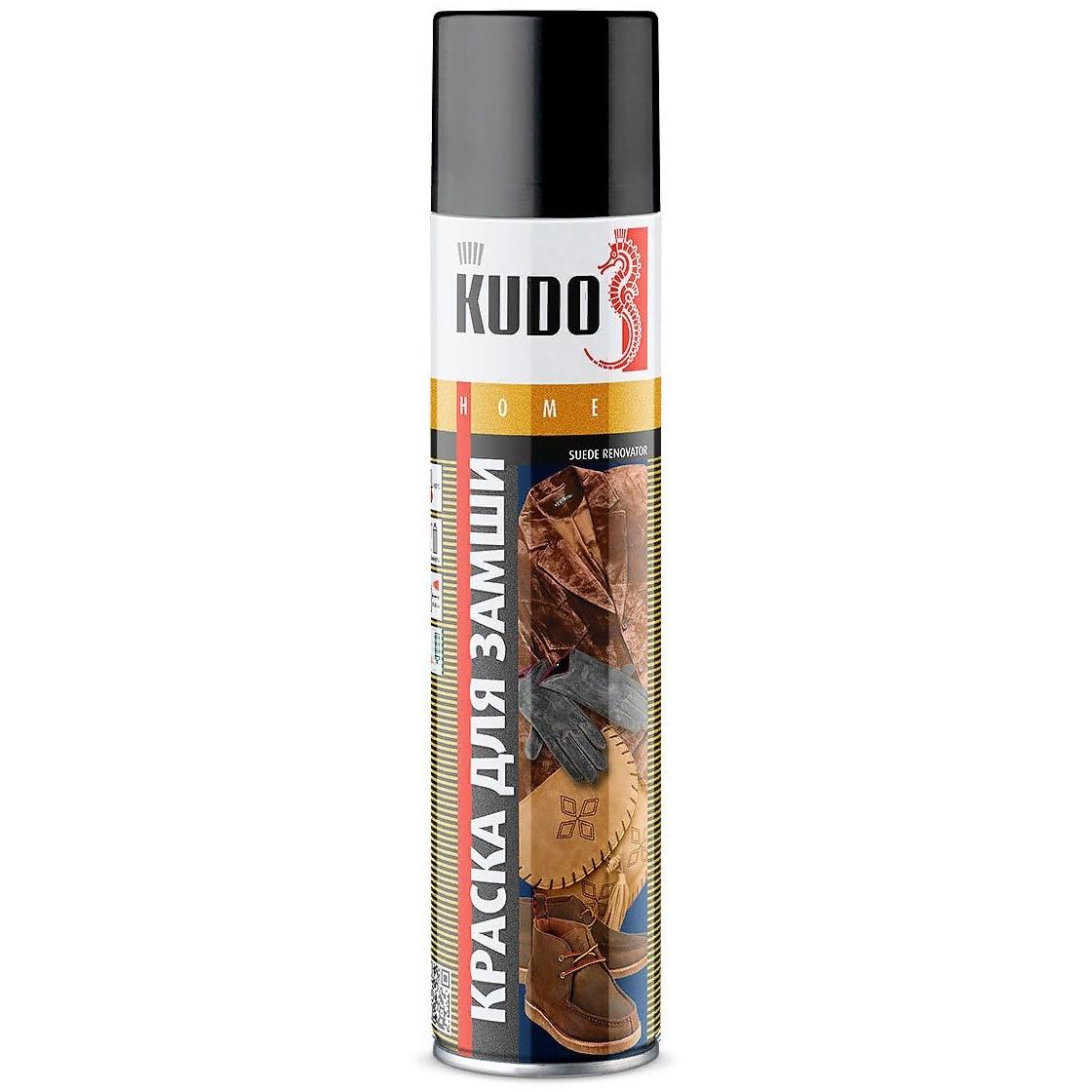 Средство для обуви и одежды KUDO краска для замши и нубука, аэрозоль, 400 мл, черный цена и фото