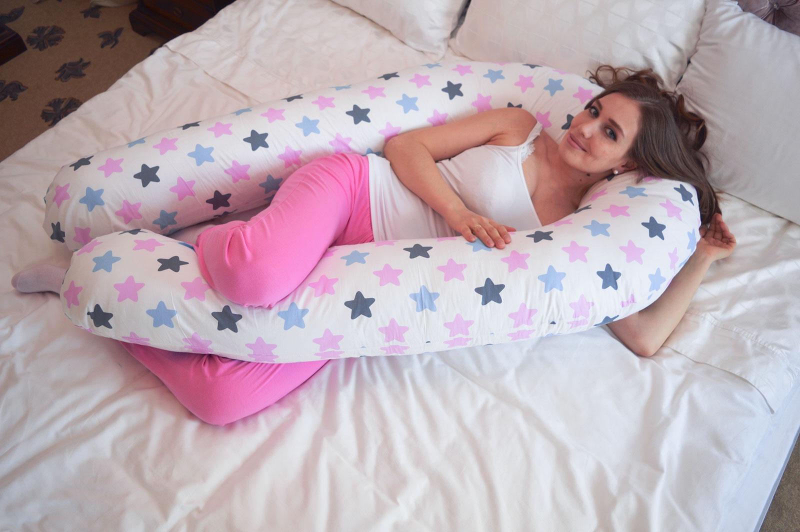 Подушка для кормящих и беременных Premium Mama модель Optima в форме U универсальная+наволочка+сумка переноска, белый, розовый, светло-серый