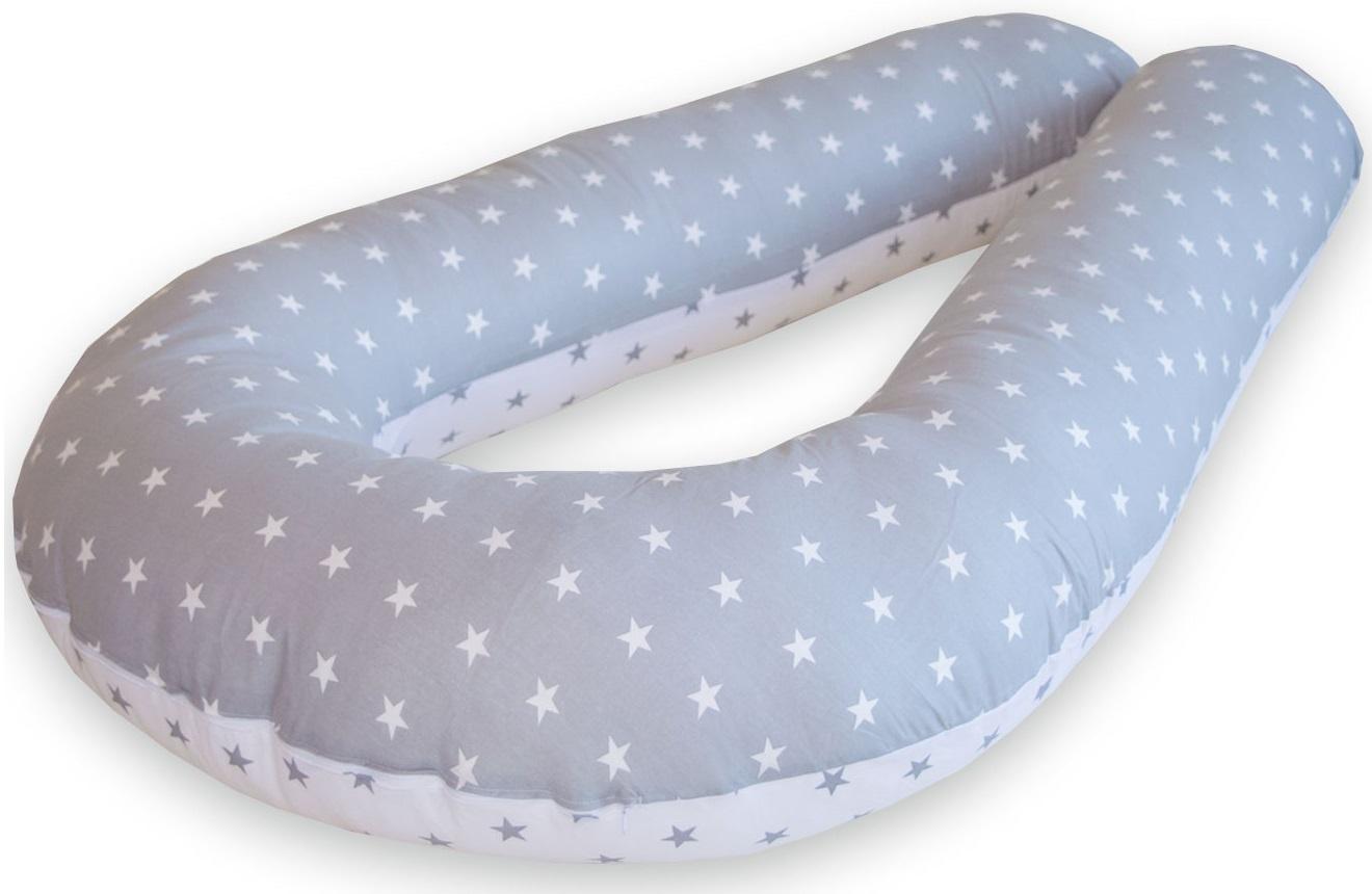 Подушка для кормящих и беременных Premium Mama модель Optima в форме U универсальная+наволочка+сумка переноска, белый, светло-серый