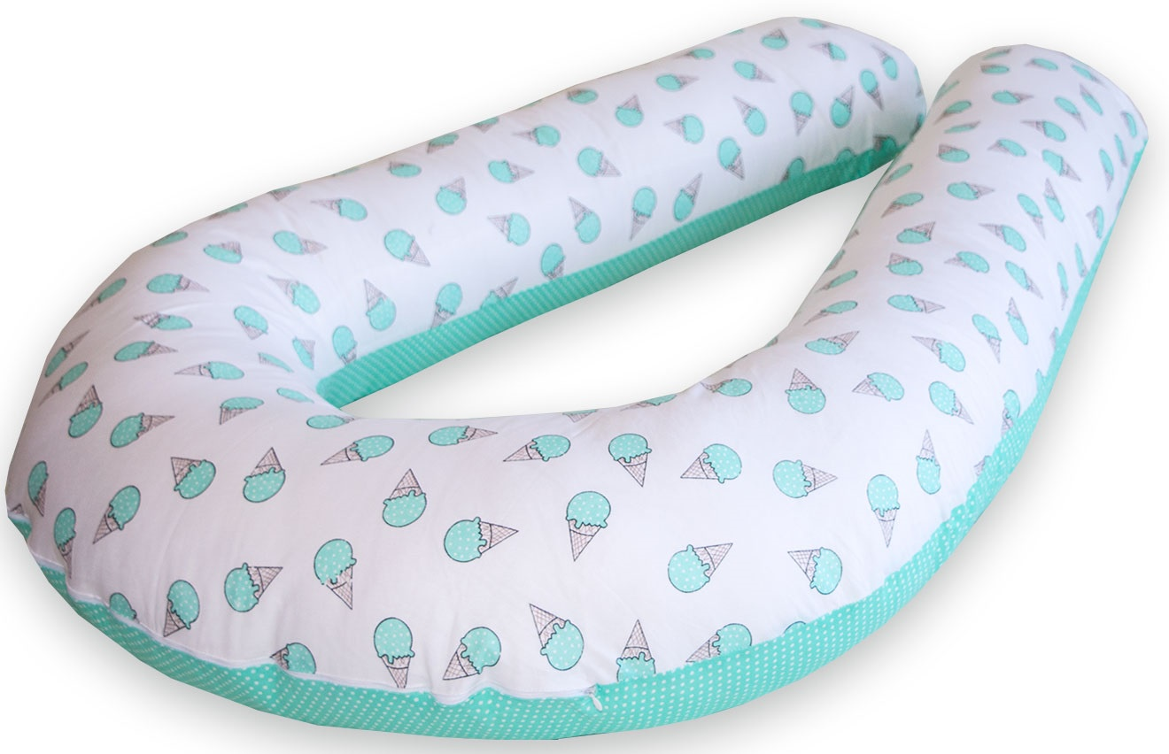 Подушка для кормящих и беременных Premium Mama модель Maxi в форме U максимального размера+наволочка+сумка переноска, белый, бирюзовый