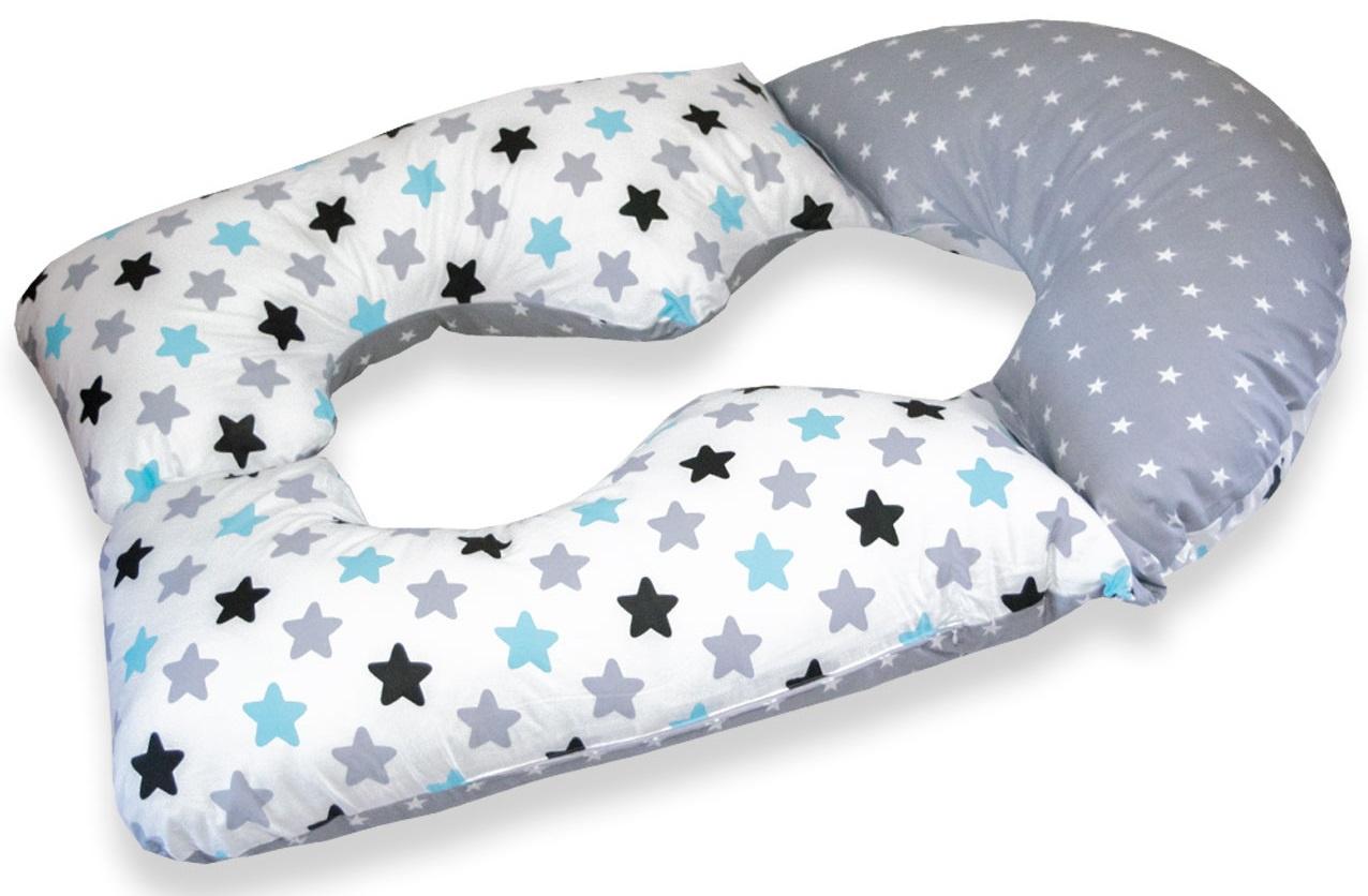Подушка для кормящих и беременных Premium Mama модель Ergonomic в форме U анатомическая трансформер+наволочка+сумка переноска, белый, светло-серый (5682)