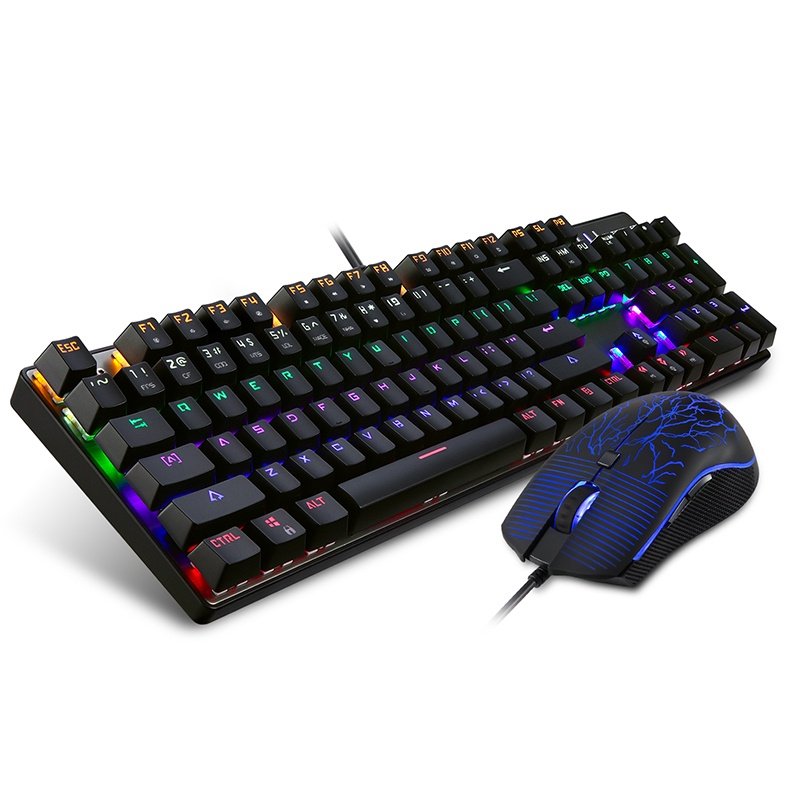 Комплект игровая мышь + клавиатура Motospeed CK666Rainbow yi бо е 3lue k751 шесть смешения цветов свет 104 механических клавиши клавиатуры черная красная ось