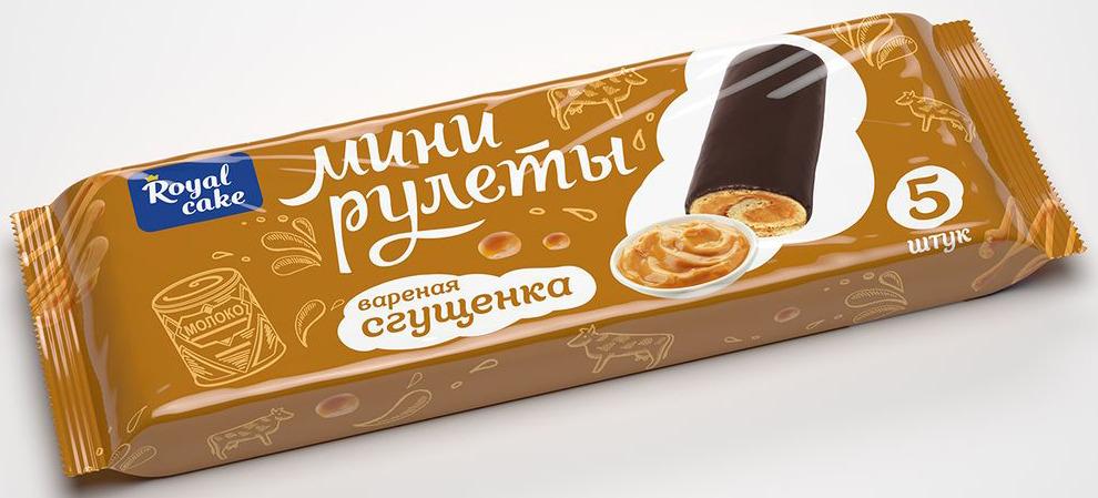 Рулет Royal Cake Сладкая пятерочка с вареной сгущенкой, глазированный, мини, 160 гр рулет royal cake с абрикосом глазированный бисквитный 200 гр