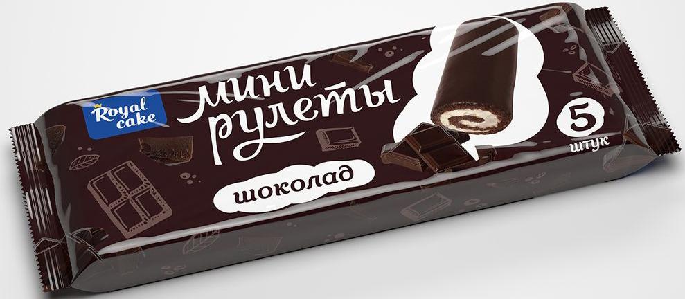 Рулет Royal Cake Сладкая пятерочка со вкусом шоколада, глазированный, мини, 160 гр рулет royal cake с абрикосом глазированный бисквитный 200 гр